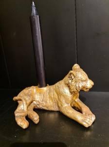 Bilde av Løve kronelysholder i gull